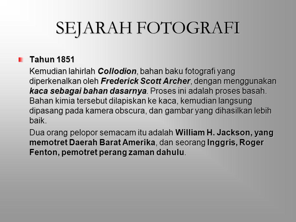 SEJARAH FOTOGRAFI Dia memaparkan hasil penemuannya (tepatnya tahun 1834) berupa proses fotografi moderen kepada Institut Kerajaan Inggris. Berbeda den