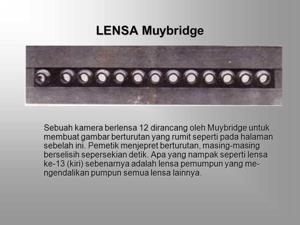 FOTO AKSI BERANGKAI Muybridge membuat telaah gerak dengan beberapa cara. Dalam dua rangkaian di samping ia menyerempakkan pandangan depan dan belakang