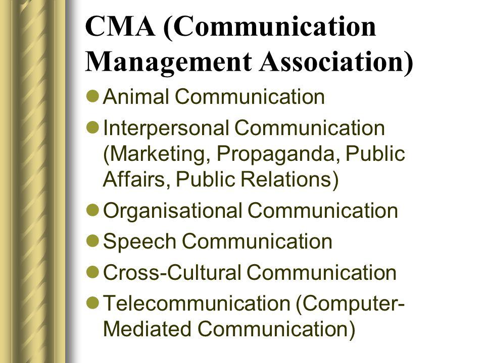 CMA (Communication Management Association)  Animal Communication  Interpersonal Communication (Marketing, Propaganda, Public Affairs, Public Relatio