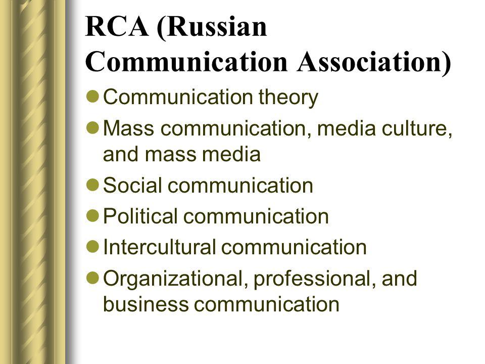 RCA (Russian Communication Association)  Communication theory  Mass communication, media culture, and mass media  Social communication  Political
