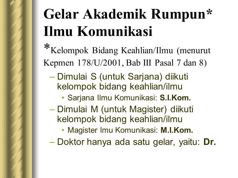 Gelar Akademik Rumpun* Ilmu Komunikasi * Kelompok Bidang Keahlian/Ilmu (menurut Kepmen 178/U/2001, Bab III Pasal 7 dan 8) –Dimulai S (untuk Sarjana) d
