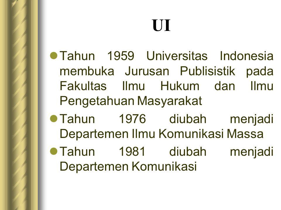 UI  Tahun 1959 Universitas Indonesia membuka Jurusan Publisistik pada Fakultas Ilmu Hukum dan Ilmu Pengetahuan Masyarakat  Tahun 1976 diubah menjadi