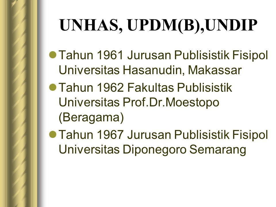 UNHAS, UPDM(B),UNDIP  Tahun 1961 Jurusan Publisistik Fisipol Universitas Hasanudin, Makassar  Tahun 1962 Fakultas Publisistik Universitas Prof.Dr.Mo