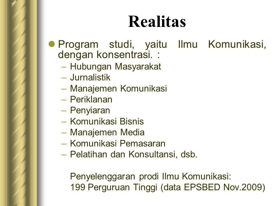 Realitas  Program studi, yaitu Ilmu Komunikasi, dengan konsentrasi. : –Hubungan Masyarakat –Jurnalistik –Manajemen Komunikasi –Periklanan –Penyiaran