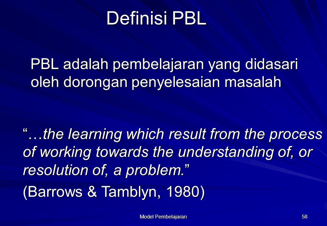 Model Pembelajaran 57 Definisi PBL belajar merupakan pemahaman dari proses kerja sebagai bagian dari pemahaman atau pemecahan masalah