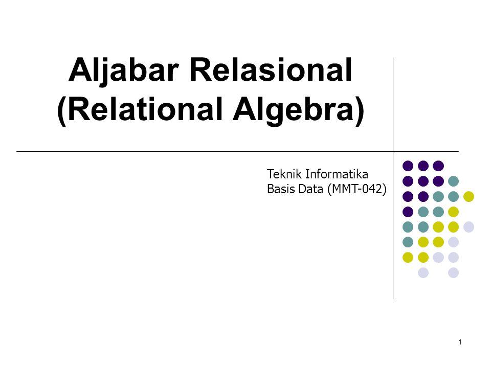 1 Aljabar Relasional (Relational Algebra) Teknik Informatika Basis Data (MMT-042)