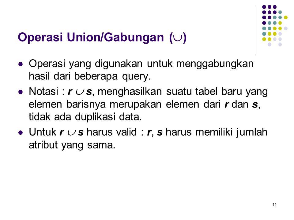 11 Operasi Union/Gabungan (  )  Operasi yang digunakan untuk menggabungkan hasil dari beberapa query.  Notasi : r  s, menghasilkan suatu tabel bar