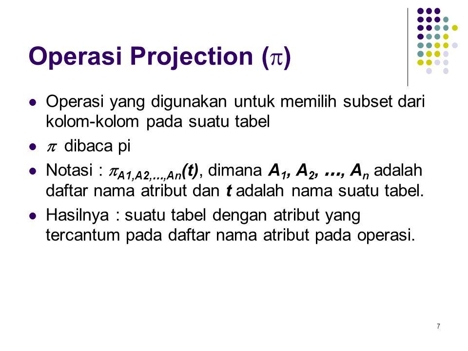 7 Operasi Projection (  )  Operasi yang digunakan untuk memilih subset dari kolom-kolom pada suatu tabel   dibaca pi  Notasi :  A1,A2, …,An (t