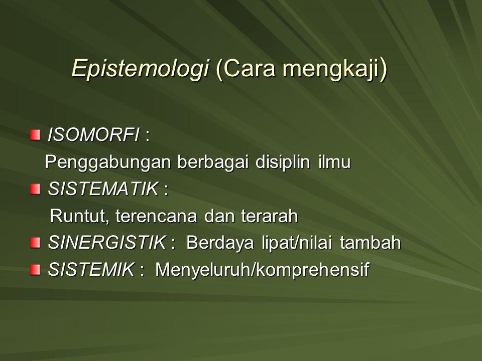 Epistemologi (Cara mengkaji ) ISOMORFI : Penggabungan berbagai disiplin ilmu Penggabungan berbagai disiplin ilmu SISTEMATIK : Runtut, terencana dan te