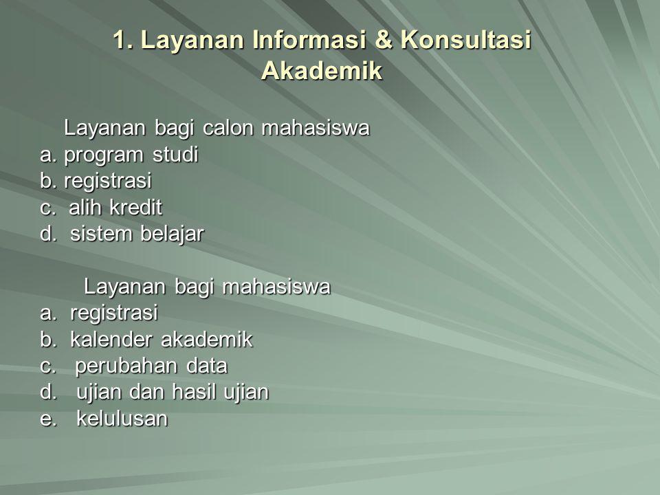 1. Layanan Informasi & Konsultasi Akademik Layanan bagi calon mahasiswa a. program studi b. registrasi c. alih kredit d. sistem belajar Layanan bagi m