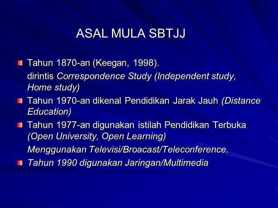 ASAL MULA SBTJJ Tahun 1870-an (Keegan, 1998). dirintis Correspondence Study (Independent study, Home study) Tahun 1970-an dikenal Pendidikan Jarak Jau