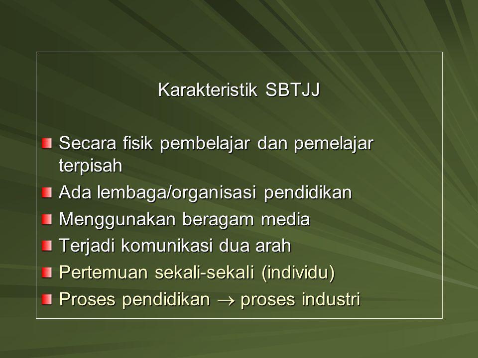 Karakteristik SBTJJ Secara fisik pembelajar dan pemelajar terpisah Ada lembaga/organisasi pendidikan Menggunakan beragam media Terjadi komunikasi dua