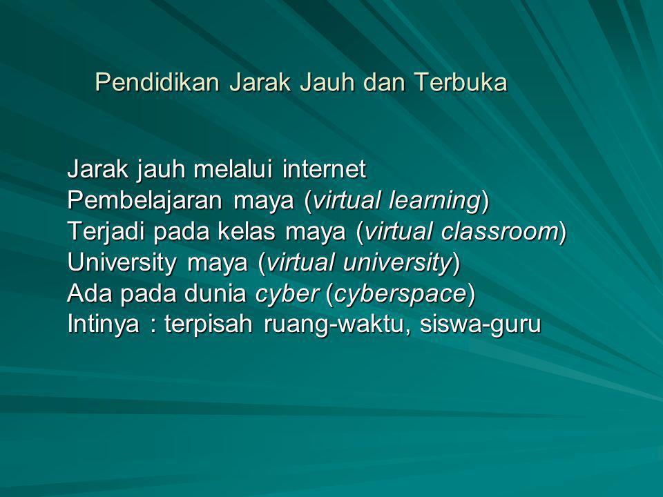 Pendidikan Jarak Jauh dan Terbuka Jarak jauh melalui internet Pembelajaran maya (virtual learning) Terjadi pada kelas maya (virtual classroom) Univers