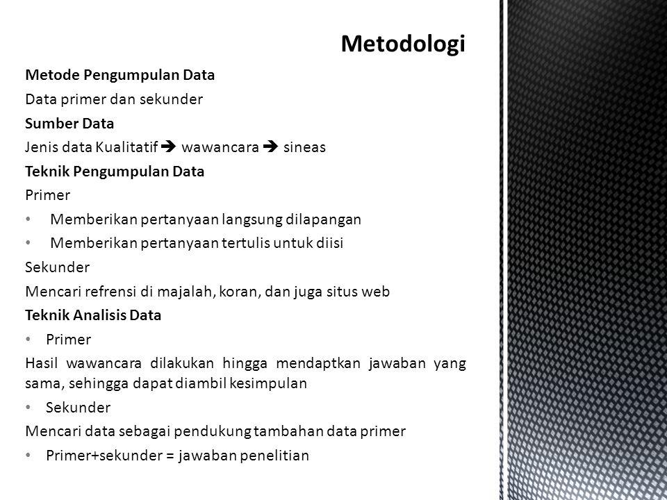 Metode Pengumpulan Data Data primer dan sekunder Sumber Data Jenis data Kualitatif  wawancara  sineas Teknik Pengumpulan Data Primer • Memberikan pe