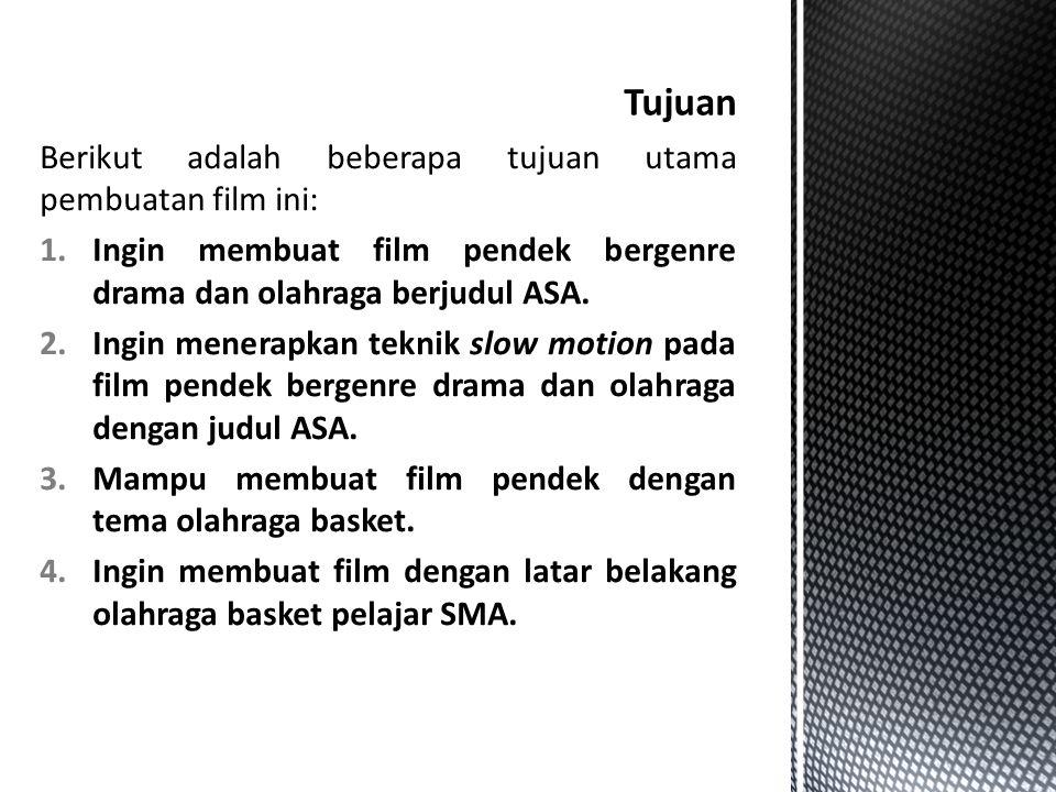 Berikut adalah beberapa tujuan utama pembuatan film ini: 1.Ingin membuat film pendek bergenre drama dan olahraga berjudul ASA. 2.Ingin menerapkan tekn