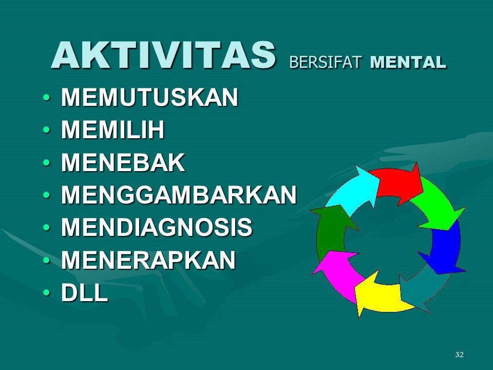 32 •MEMUTUSKAN •MEMILIH •MENEBAK •MENGGAMBARKAN •MENDIAGNOSIS •MENERAPKAN •DLL AKTIVITAS BERSIFAT MENTAL