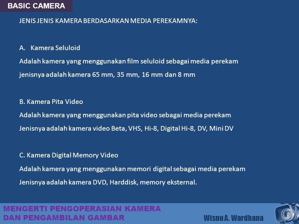BASIC CAMERA MENGERTI PENGOPERASIAN KAMERA DAN PENGAMBILAN GAMBAR Wisnu A. Wardhana JENIS JENIS KAMERA BERDASARKAN MEDIA PEREKAMNYA: A.Kamera Seluloid