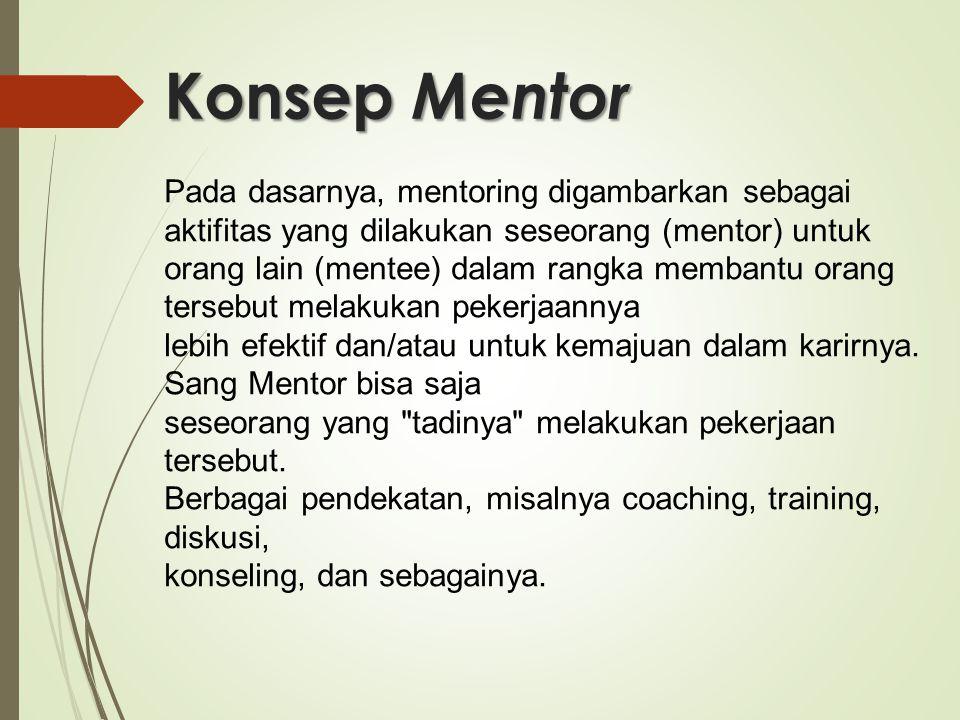 Konsep Mentor Pada dasarnya, mentoring digambarkan sebagai aktifitas yang dilakukan seseorang (mentor) untuk orang lain (mentee) dalam rangka membantu