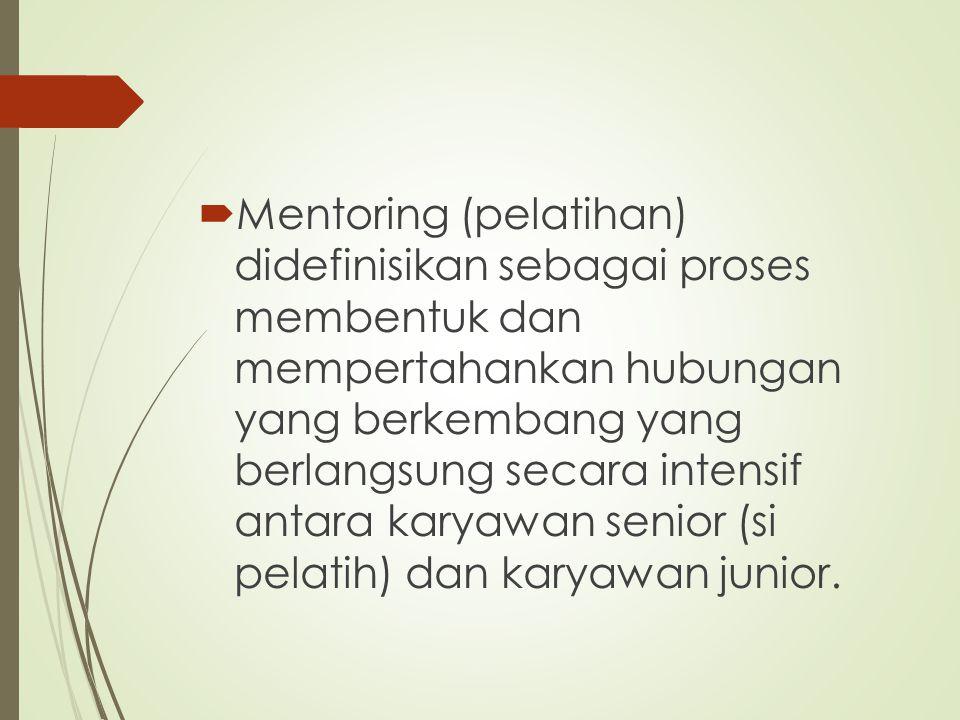  Mentoring (pelatihan) didefinisikan sebagai proses membentuk dan mempertahankan hubungan yang berkembang yang berlangsung secara intensif antara kar