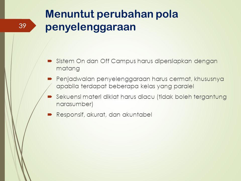 Menuntut perubahan pola penyelenggaraan  Sistem On dan Off Campus harus dipersiapkan dengan matang  Penjadwalan penyelenggaraan harus cermat, khusus