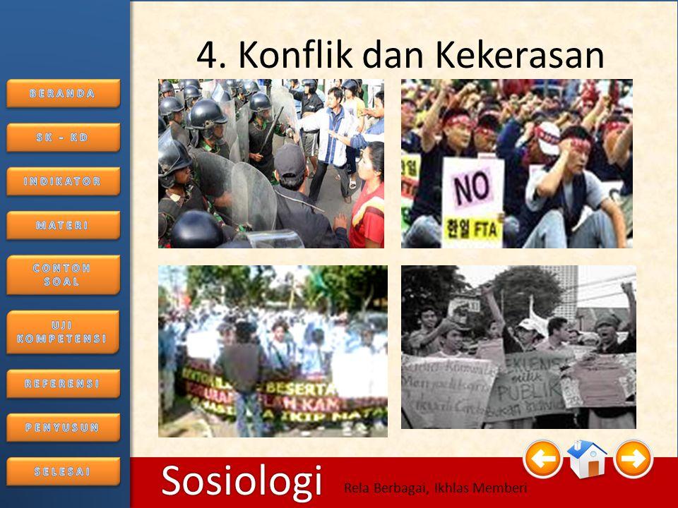 6/25/2014176/25/2014 Sosiologi Rela Berbagai, Ikhlas Memberi Segi Negatif • Keretakan hubungan antar kelompok yang bertikai.