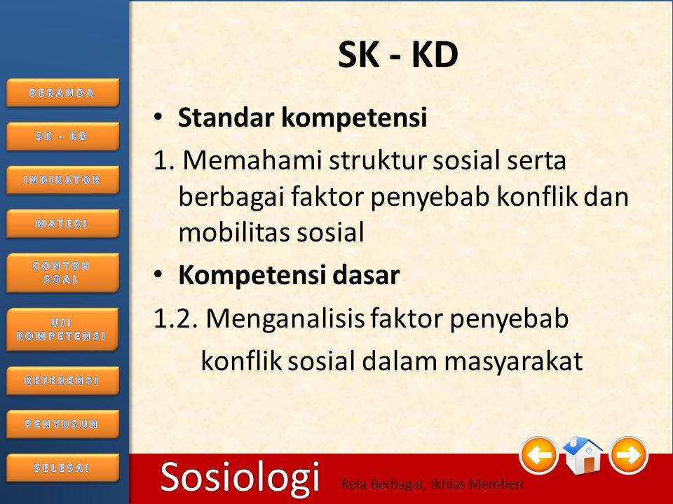 6/25/20144 Sosiologi Rela Berbagai, Ikhlas Memberi SK - KD • Standar kompetensi 1.