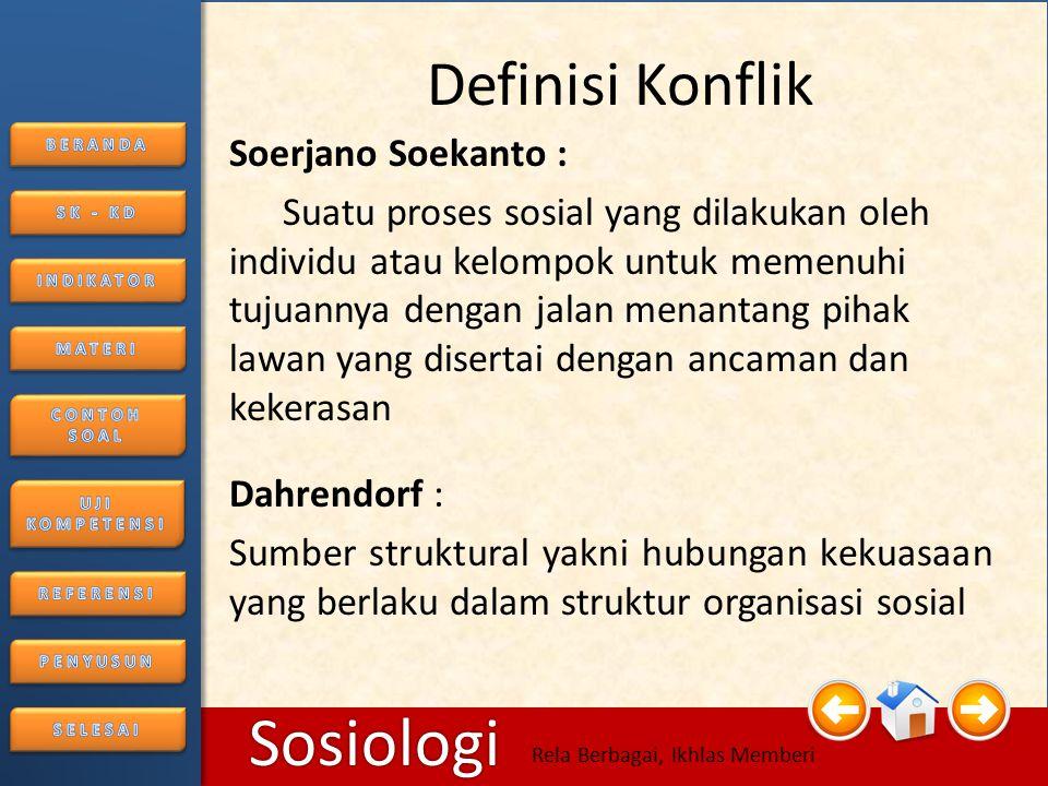 6/25/20146 Sosiologi Rela Berbagai, Ikhlas Memberi MATERI A.Konflik Konflik berasal dari kata kerja Latin configere yang berarti saling memukul.