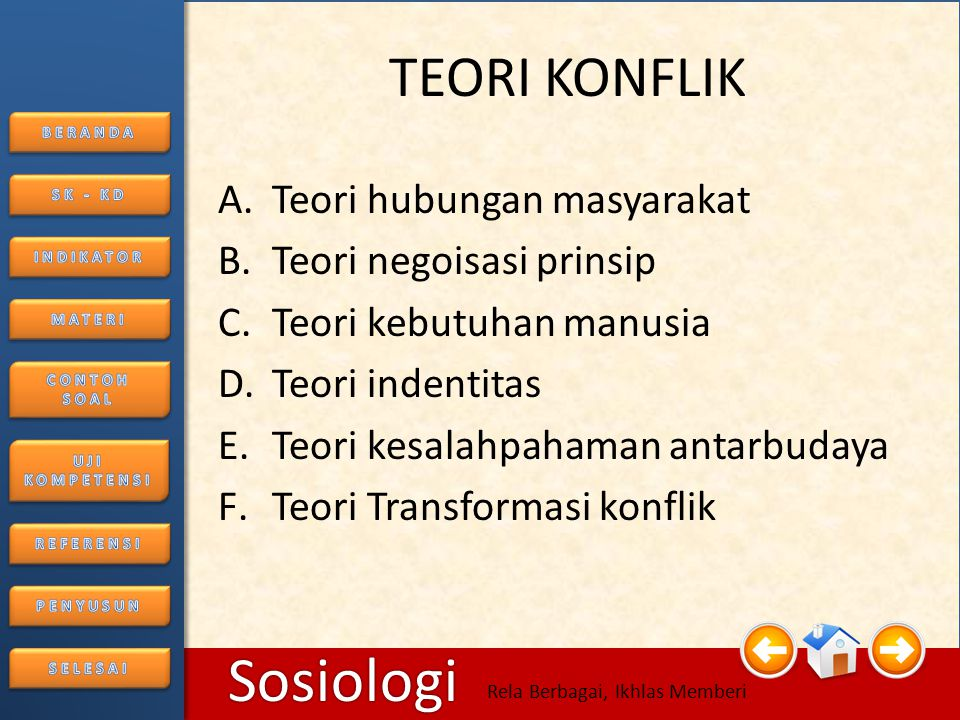 6/25/20148 Sosiologi Rela Berbagai, Ikhlas Memberi B. Konflik Dalam Masyarakat 1.Sebab-sebab konflik a.Perbedaan Individu b.Perbedaan latar belakang k