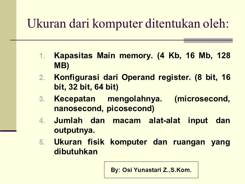 Ukuran dari komputer ditentukan oleh: 1. Kapasitas Main memory. (4 Kb, 16 Mb, 128 MB) 2. Konfigurasi dari Operand register. (8 bit, 16 bit, 32 bit, 64