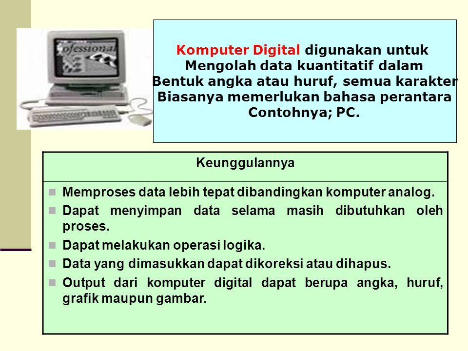Komputer Digital digunakan untuk Mengolah data kuantitatif dalam Bentuk angka atau huruf, semua karakter Biasanya memerlukan bahasa perantara Contohny