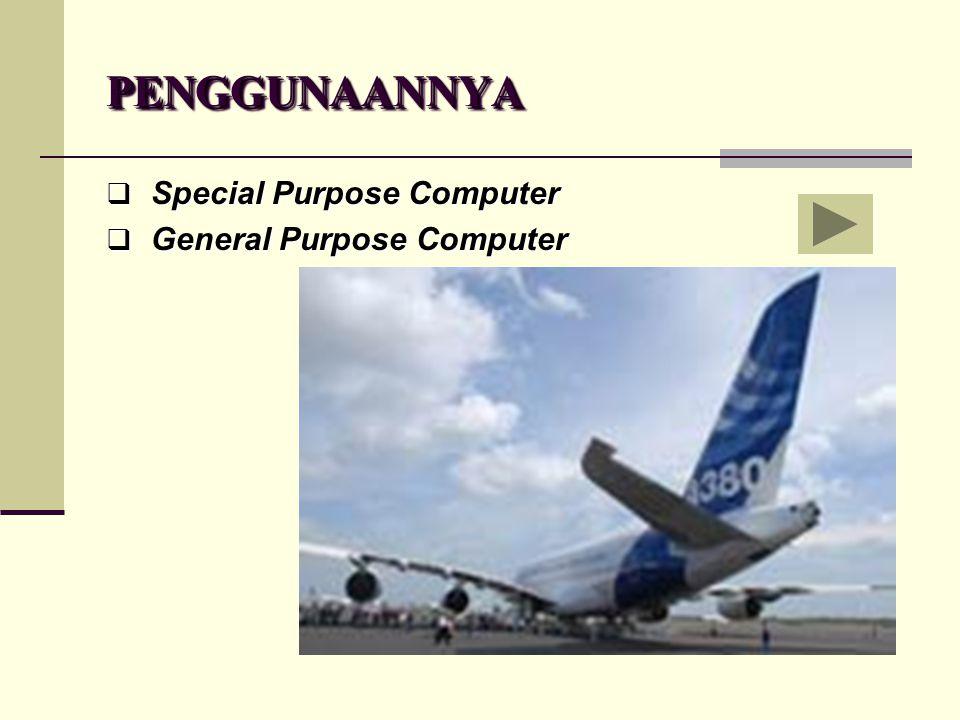 PENGGUNAANNYAPENGGUNAANNYA  S S S Special Purpose Computer  G G G General Purpose Computer