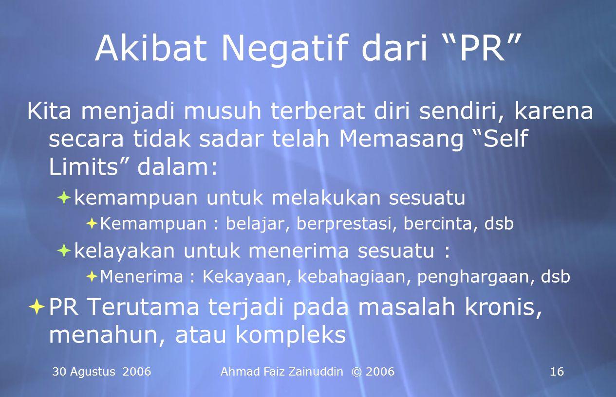 """30 Agustus 2006Ahmad Faiz Zainuddin © 200616 Akibat Negatif dari """"PR"""" Kita menjadi musuh terberat diri sendiri, karena secara tidak sadar telah Memasa"""