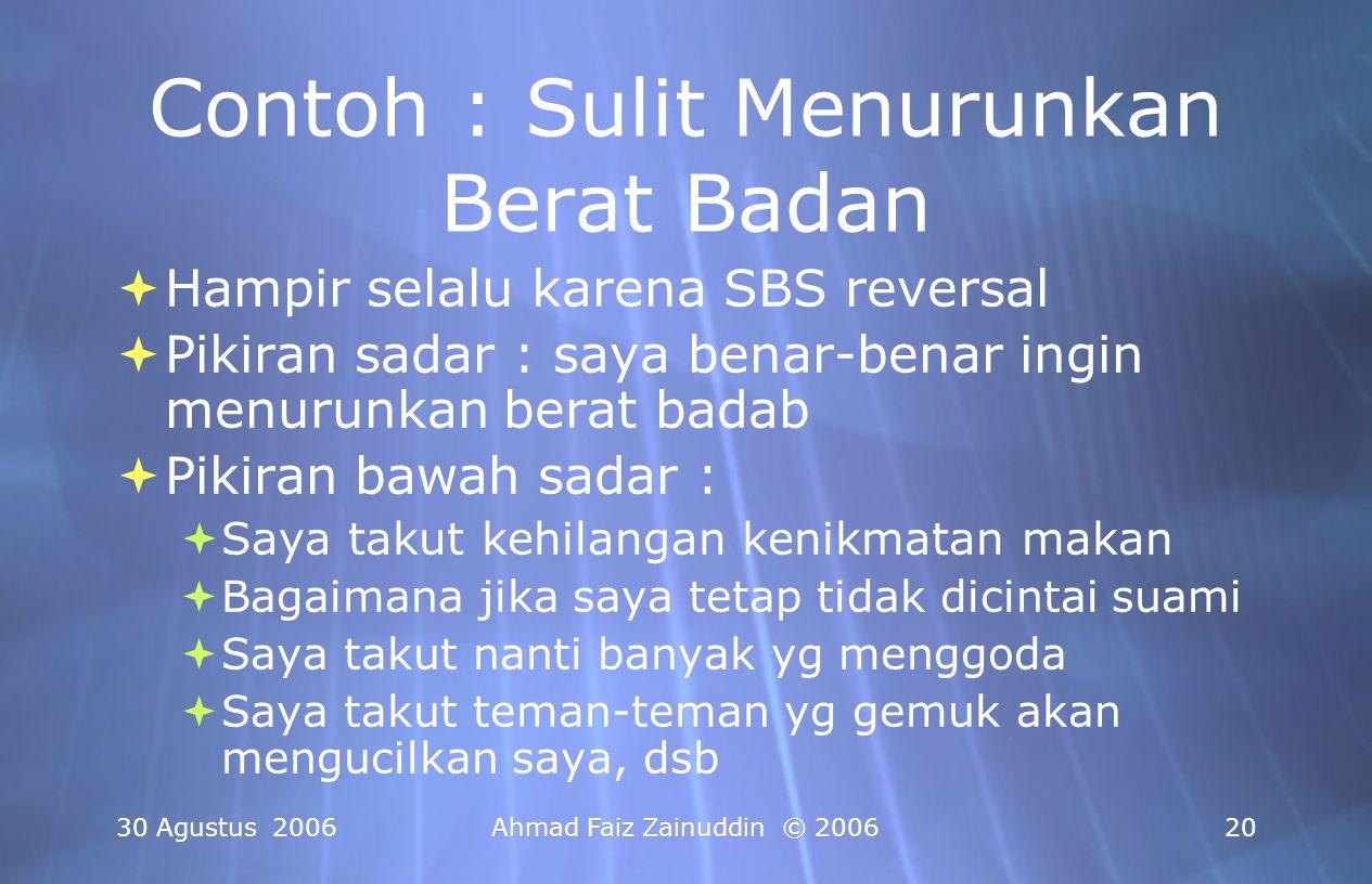30 Agustus 2006Ahmad Faiz Zainuddin © 200620 Contoh : Sulit Menurunkan Berat Badan  Hampir selalu karena SBS reversal  Pikiran sadar : saya benar-be