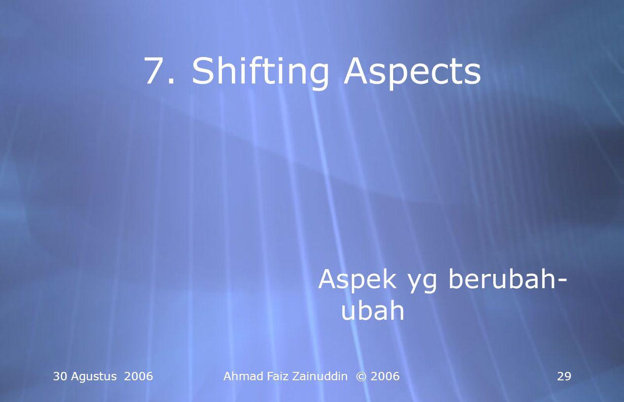 30 Agustus 2006Ahmad Faiz Zainuddin © 200629 7. Shifting Aspects Aspek yg berubah- ubah