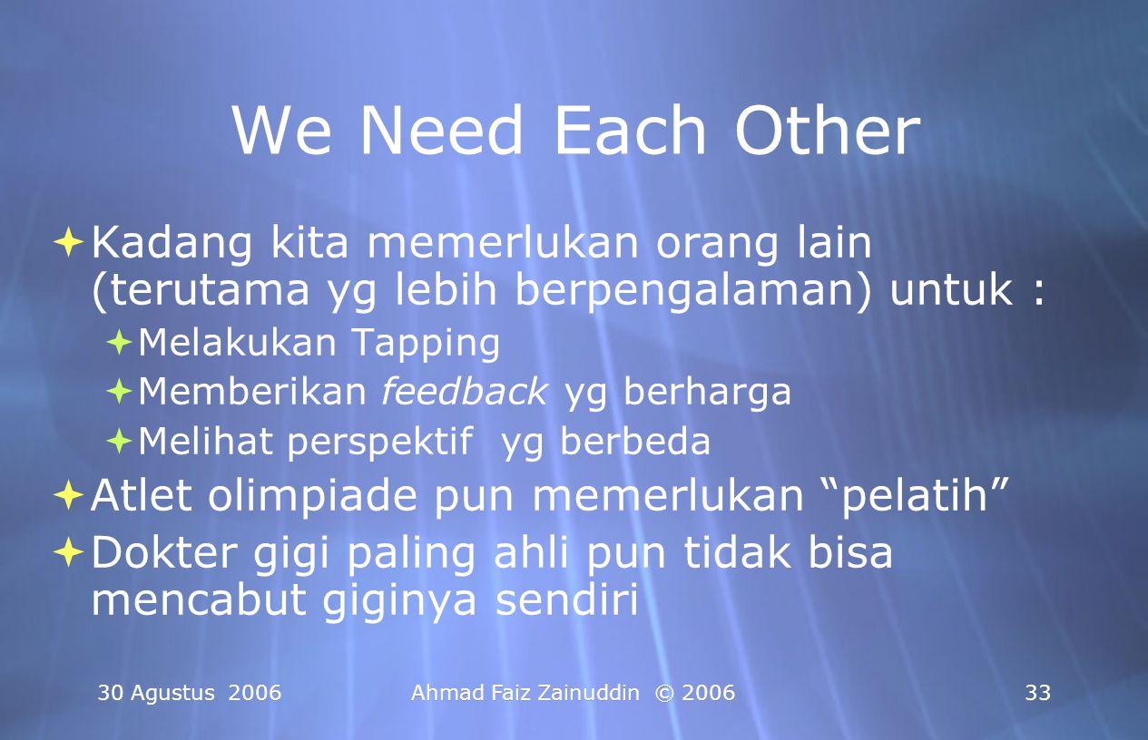 30 Agustus 2006Ahmad Faiz Zainuddin © 200633 We Need Each Other  Kadang kita memerlukan orang lain (terutama yg lebih berpengalaman) untuk :  Melaku