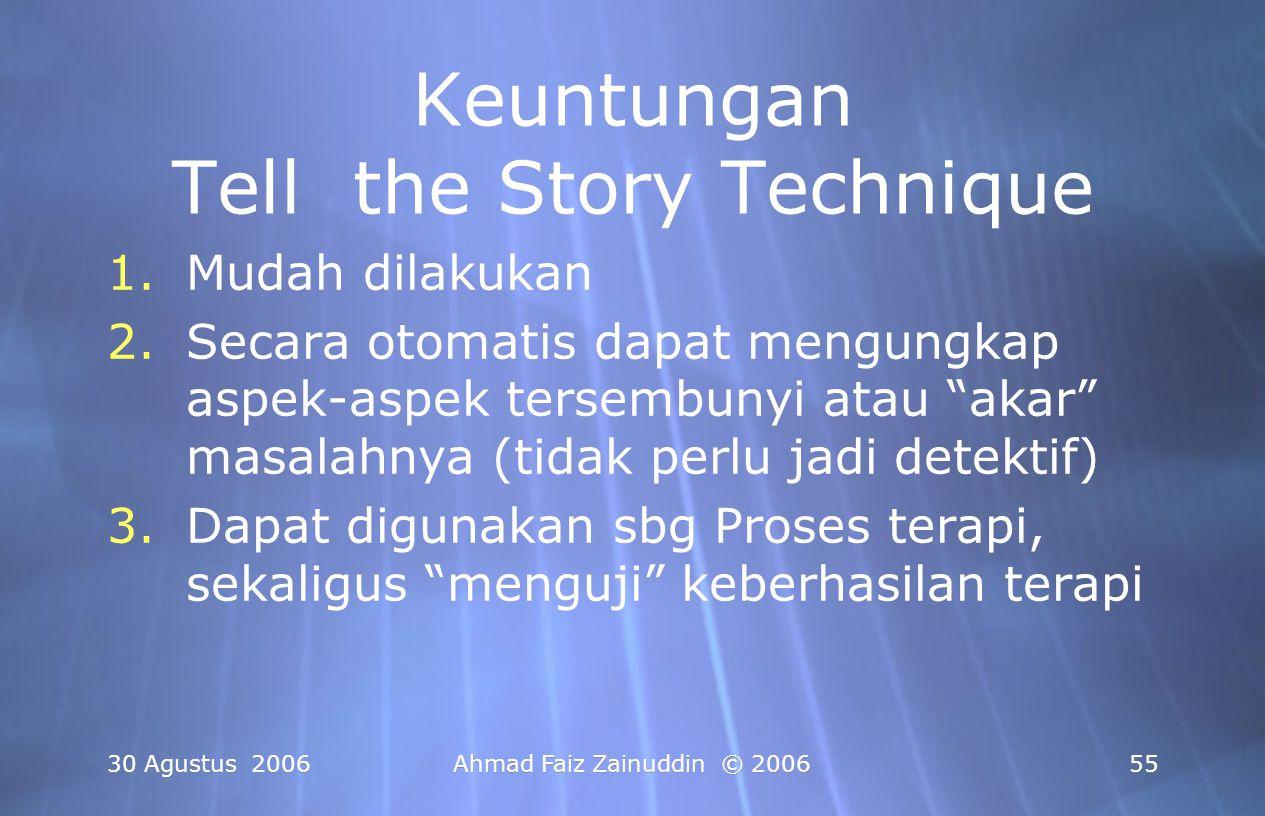 30 Agustus 2006Ahmad Faiz Zainuddin © 200655 Keuntungan Tell the Story Technique 1.Mudah dilakukan 2.Secara otomatis dapat mengungkap aspek-aspek ters