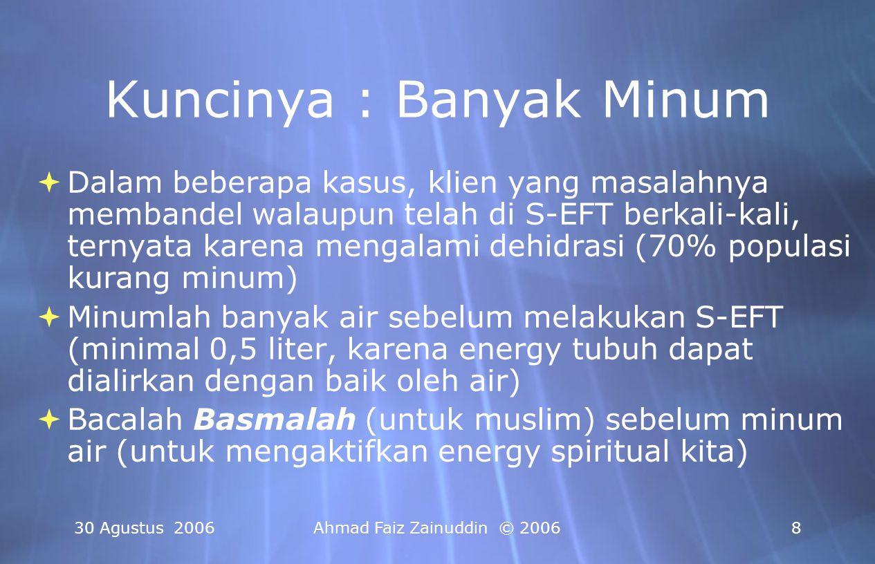30 Agustus 2006Ahmad Faiz Zainuddin © 20068 Kuncinya : Banyak Minum  Dalam beberapa kasus, klien yang masalahnya membandel walaupun telah di S-EFT be