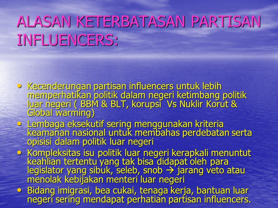 ALASAN KETERBATASAN PARTISAN INFLUENCERS: • Kecenderungan partisan influencers untuk lebih memperhatikan politik dalam negeri ketimbang politik luar n