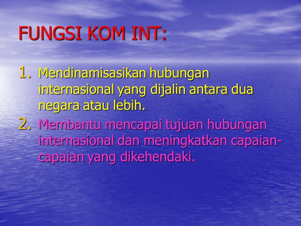FUNGSI KOM INT: 1. Mendinamisasikan hubungan internasional yang dijalin antara dua negara atau lebih. 2. Membantu mencapai tujuan hubungan internasion