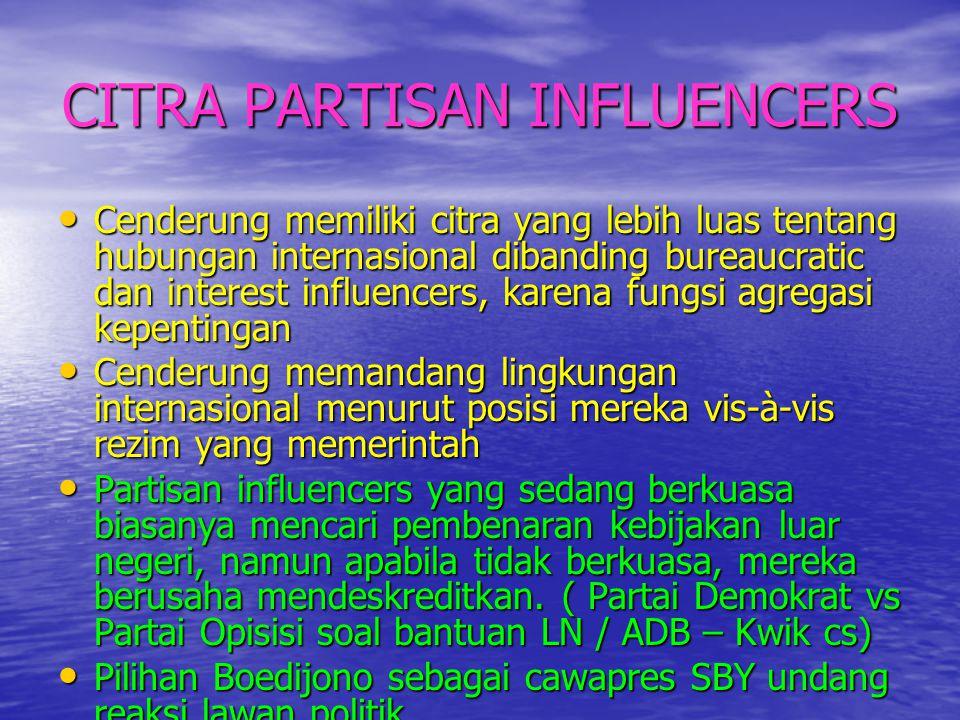CITRA PARTISAN INFLUENCERS • Cenderung memiliki citra yang lebih luas tentang hubungan internasional dibanding bureaucratic dan interest influencers,