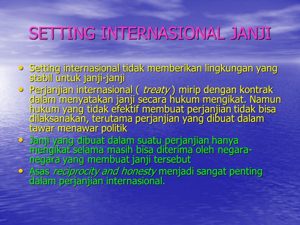 SETTING INTERNASIONAL JANJI • Setting internasional tidak memberikan lingkungan yang stabil untuk janji-janji • Perjanjian internasional ( treaty ) mi