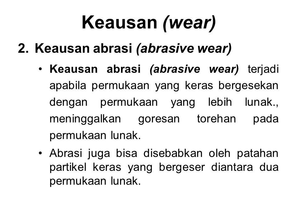 2.Keausan abrasi (abrasive wear) •Keausan abrasi (abrasive wear) terjadi apabila permukaan yang keras bergesekan dengan permukaan yang lebih lunak., m