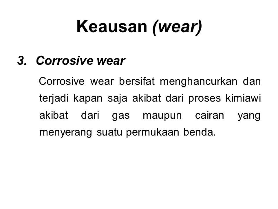 3.Corrosive wear Corrosive wear bersifat menghancurkan dan terjadi kapan saja akibat dari proses kimiawi akibat dari gas maupun cairan yang menyerang