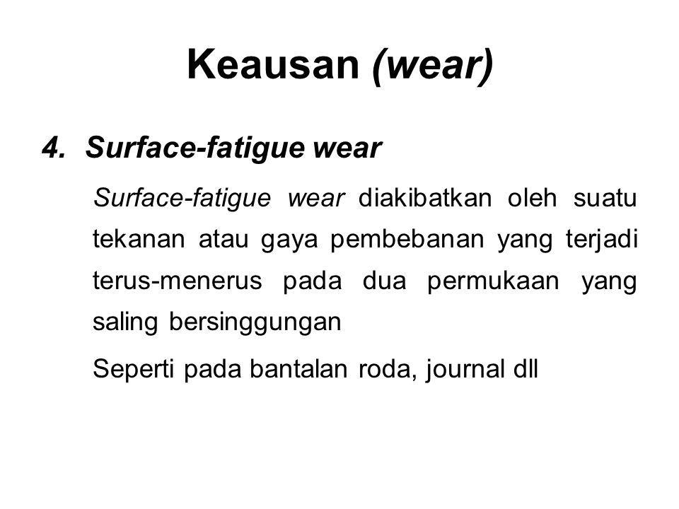 4.Surface-fatigue wear Surface-fatigue wear diakibatkan oleh suatu tekanan atau gaya pembebanan yang terjadi terus-menerus pada dua permukaan yang sal