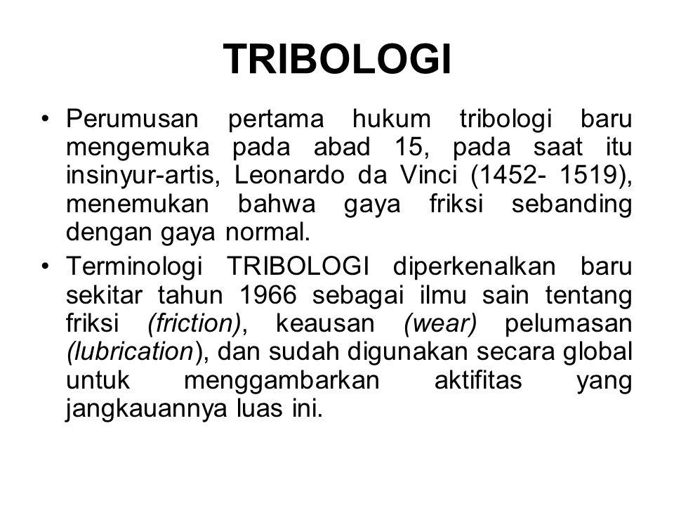 •Perumusan pertama hukum tribologi baru mengemuka pada abad 15, pada saat itu insinyur-artis, Leonardo da Vinci (1452- 1519), menemukan bahwa gaya fri