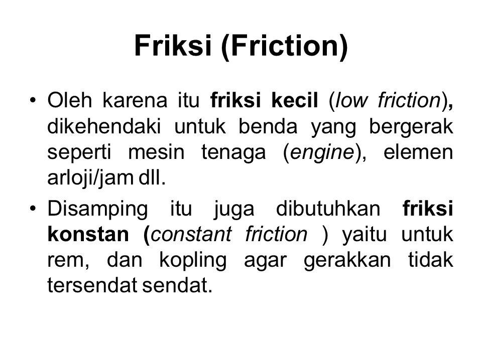 •Oleh karena itu friksi kecil (low friction), dikehendaki untuk benda yang bergerak seperti mesin tenaga (engine), elemen arloji/jam dll. •Disamping i