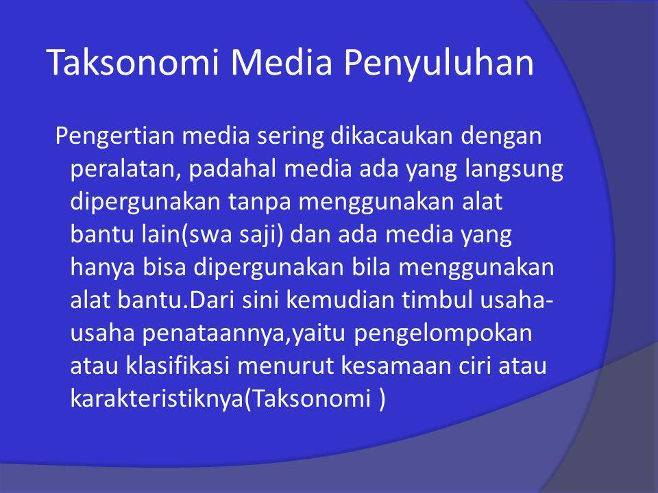 Taksonomi Media Penyuluhan Pengertian media sering dikacaukan dengan peralatan, padahal media ada yang langsung dipergunakan tanpa menggunakan alat ba