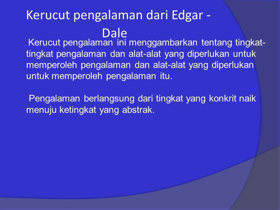 Kerucut pengalaman dari Edgar - Dale Kerucut pengalaman ini menggambarkan tentang tingkat- tingkat pengalaman dan alat-alat yang diperlukan untuk memp