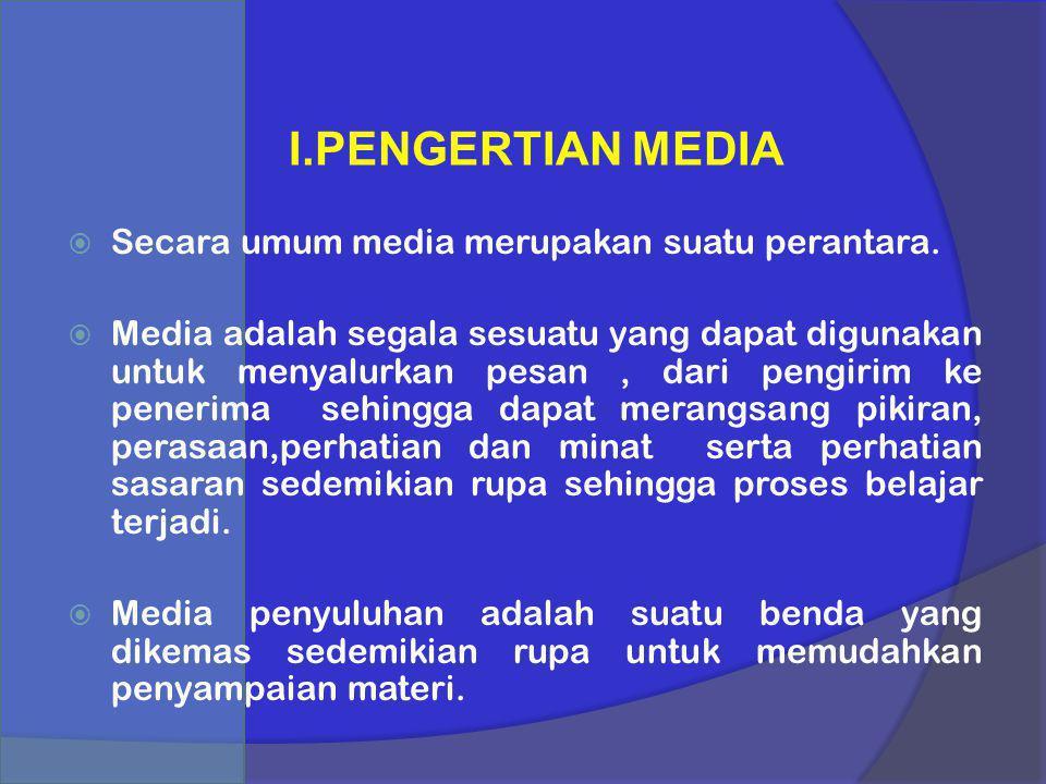 I.PENGERTIAN MEDIA  Secara umum media merupakan suatu perantara.  Media adalah segala sesuatu yang dapat digunakan untuk menyalurkan pesan, dari pen