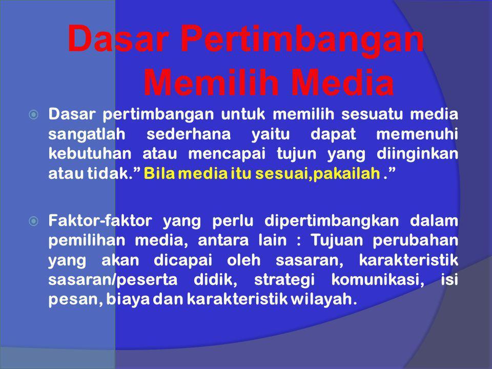 Dasar Pertimbangan Memilih Media  Dasar pertimbangan untuk memilih sesuatu media sangatlah sederhana yaitu dapat memenuhi kebutuhan atau mencapai tuj